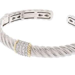Sterling Silver & 14K Gold Clad Diamonique Cuff